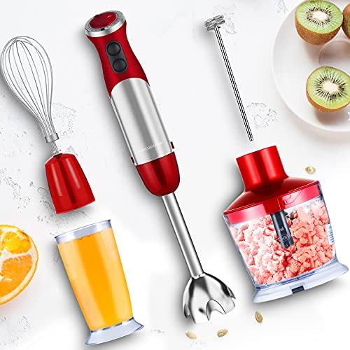 MegaWise Pro Titanium Reinforced 5-in-1 Immersion Hand Blender, Powerful 1000W with 80% Sharper Blades, 12-Speed Corded Blender, Including 500ml Chopper, 600ml Beaker, Whisk and Milk Frother