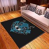 MOUPSDT Alfombra de salón, Home Alfombra De Diseño Pelo Corto Muy Suave, para el Salón, Comedor, Dormitorio, Alfombra Dibujos Animados Azul Negro Blanco Animal Lobo, 160x230 cm