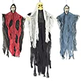 """JOYIN Set of Three Hanging Skeleton Ghost Halloween Decorations(One 35"""" Hanging Ghost Skeleton and Two 25"""" Hanging Reapers)"""