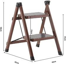 Folding 2 Step Ladder,Portable Household Stepladder Non-Slip Collapsible Ladder Extension Home Outdoor Ladder,Brown