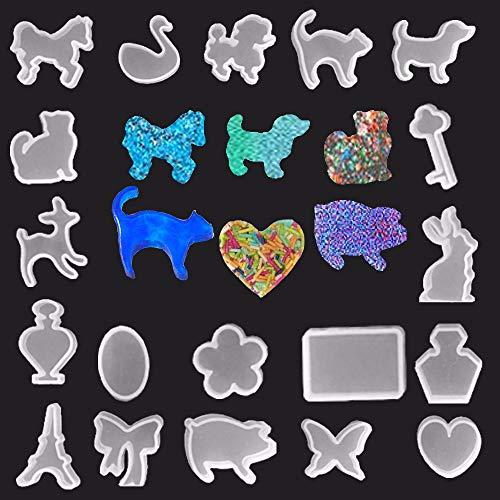 VWORK 19PCS Pendant Resin Molds, Horse, Duck, Monkey, Cat, Deer, Dog, Tower, Key, Flower, Butterfly, Pig, Rabbit, Bottle Etc, Keychain Charm Epoxy Resin Silicone Molds