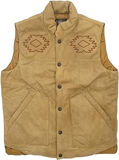 (ダブルアールエル) RRL Hazelwood シープスウェード レザー ベスト ネイティブ 刺繍 中ウール Hand-Embroidered Leather Vest 並行輸入品 [並行輸入品]