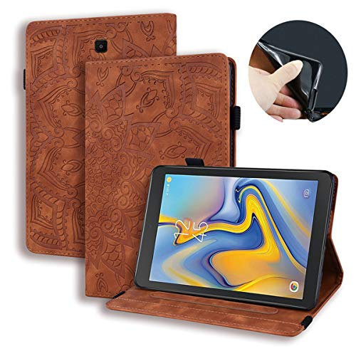 LUSHENG Galaxy Tab A 8.0 (2018) 3D Relief Sculpture Sun Flower Flip Wallet Case, 360° Coverage Protective Case Cover for Samsung Galaxy Tab A 8.0 (2018) 8.0' - Brown