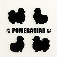 蒔絵シール DOG 「ポメラニアン(4匹)黒」