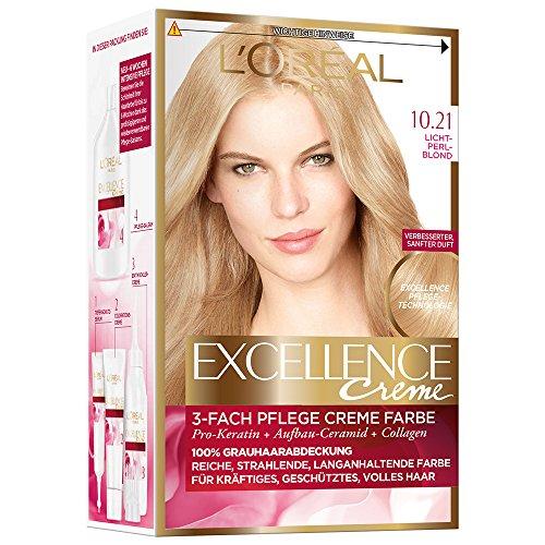 L'Oréal Paris Excellence Creme Coloration, 10,21 - Lichtperlblond, 1er Pack (1 x 1 Stück)