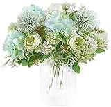 Ruiuzi Flores artificiales, peonía, seda, hortensias, ramo de flores, plástico, arreglos florales realistas, decoración de boda, decoración de mesa (verde claro)