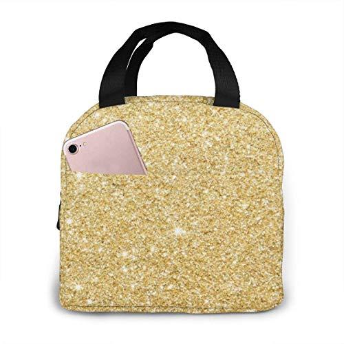 shenguang Fond givré d'or Grand sac à lunch de pique-nique Sac fourre-tout réutilisable isolé Boîte à lunch étanche portable congelable Panier refroidisseur étanche pour pique-nique Voy