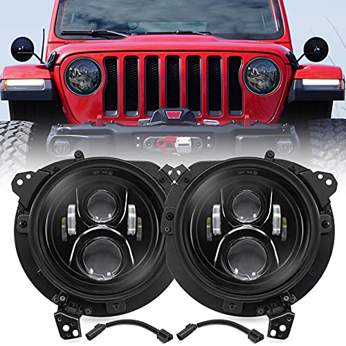 Haitzu 7 Inch LED Headlights with 9 inch Mounting Brakets Replacement for Jeep...