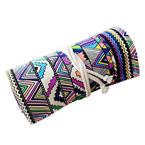 NUOLUX 48 ranuras Estuche lápices de rollo Estilo étnico lavable enrollable lápiz bolsa para bolígrafos lápices