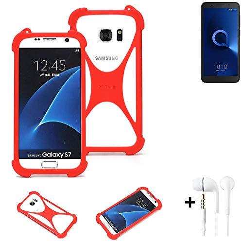 K-S-Trade® Handyhülle + Kopfhörer Für Alcatel 1C Dual SIM Schutzhülle Bumper Silikon Schutz Hülle Cover Case Silikoncase Silikonbumper TPU Softcase Smartphone, Rot (1x),
