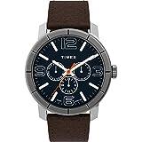 Timex Men's TW2U15300 Mod 44 Multifunction Brown/Blue Leather Strap Watch