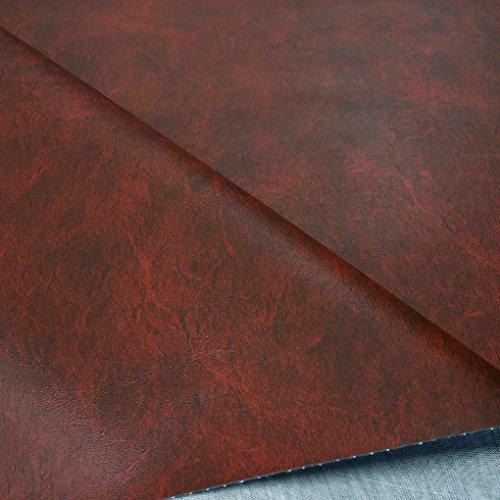 TOLKO Kunstleder Stoff Meterware in 18 Farben, Bezugsstoff/Möbelstoff für Polster- und Sitzbezüge (Antik-Bordeaux)