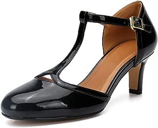 LIURUIJIA Women's Mary Jane Pumps Low Kitten Heels Round Toe Retro Shoes T-Strap D'Orsay Prom Dress Shoe Plus Size ZY19-5