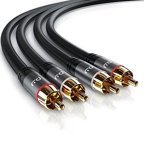 Primewire - Câble Audio stéréo Cinch d 1m - Câble coaxial entrée Aux - 2 x RCA mâle vers 2 x RCA mâle - Fiches plaquées Or de précision - Blindage continu - conducteur en cuivre sans oxygène