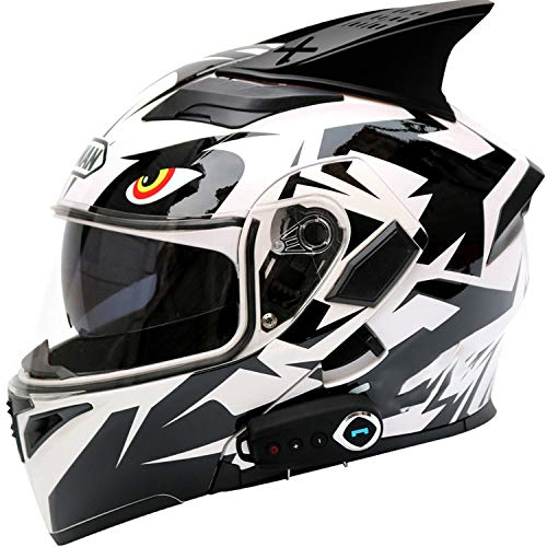 Casco Moto Bluetooth Integrado, Casco Modular para Motocicleta, Casco Integral abatible con Lente Doble antivaho, Intercomunicador por Radio, ECE Homologado (Color:H,Size:L=59-60cm)