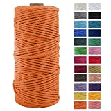 3mm x 109Yards Macrame Cord Thick Natural Cotton Macrame Rope, 4 Strand Twisted Cotton Cord Rope for Soft Macrame Natural Color Handmade Wall Hanging, Plant Hanger, Craft, Knitting, Decorative Project