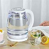 Bollitore elettrico in vetro Teiera Bollitore per acqua ad ebollizione rapida da 1,8 litri con LED illuminato, protezione dall'ebollizione automatica senza BPA per acqua calda Tè Macchina da caffè