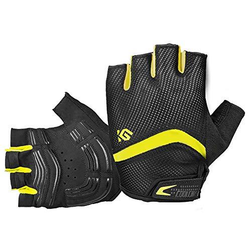 JOGVELO Fahrradhandschuhe, Fahrradhandschuhe für Herren, Gel-gepolstert, Mountainbike-Handschuhe für Männer und Frauen, Gelb 2, m