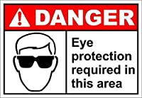 このエリアで必要な目の保護危険 金属板ブリキ看板警告サイン注意サイン表示パネル情報サイン金属安全サイン