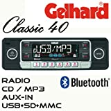 Gelhard Classic 40'Retro Look RDS Autoradio CD MP3 USB SD + Bluetooth Freisprecheinrichtung