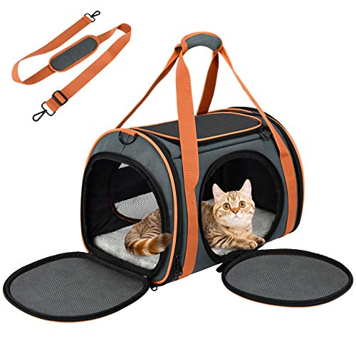 OKMEE Cat Carrier Puppy Carrier with 5-Side Breathable Foldable Mesh Windows with Robust Steel Frame Structure for Pet up to 15lbs, Perfect For Airline/Train/Car Travel with Shoulder Strap