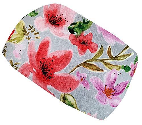 Wollhuhn Cinta elástica para el pelo para niñas y mujeres, diseño de acuarela con flores, color gris/rojo 22225577
