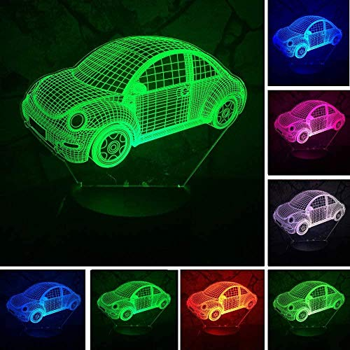 3D Lámpara De Ilusió3D car Night Light 7 Colors Touch Control Home Decor Table lamp Optical Illusion LED Night lamp USB Table lamp for Kids Christmas Birthday Best Gift Toy