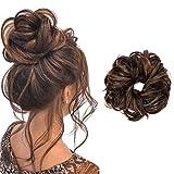 FUT Scrunchy Scrunchie Updo Hairpiece Messy Hair Bun Extensions Chignons Hair Piece, Dark Brown Mix Light Auburn