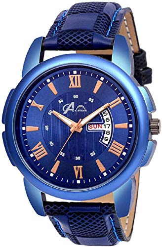 Acnos Blue Dial Blue Case Leather Date and Time Watch Combo for Pack of - 1