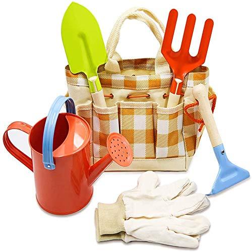 Zerobox Kinder-Gartenwerkzeug-Set, einfach zu tragen und zusammenklappbar, für Kinder, Mehrzweck-Werkzeugtasche, Gelb