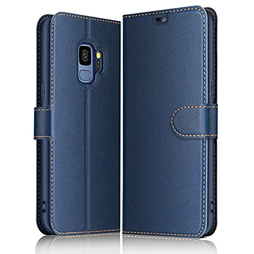 ELESNOW Hülle für Samsung Galaxy S9, Premium Leder Flip Wallet Schutzhülle Tasche Handyhülle für Samsung Galaxy S9 (Blau)