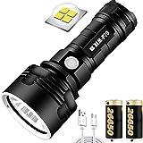 30000-100000 Lumen Lámpara de luz de flash LED impermeable de alta potencia Ultra brillante, superbrillante 3 modos Linterna con zoom con batería de alta potencia y carga USB (50W XLM-P70)
