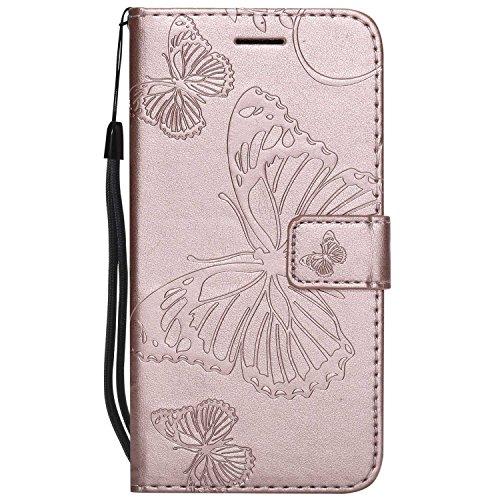 DENDICO Cover Moto G5, Pelle Portafoglio Custodia per Moto G5 Custodia a Libro con Funzione di appoggio e Porta Carte di cRossoito - Oro Rosa
