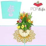 PopLife Cards Mazzo di fiori di primavera tulipano 3d biglietto di auguri pop-up per tutte le occasioni carta festa della mamma, giardino primaverile, carta di anniversario pieghe piatte per simpatia