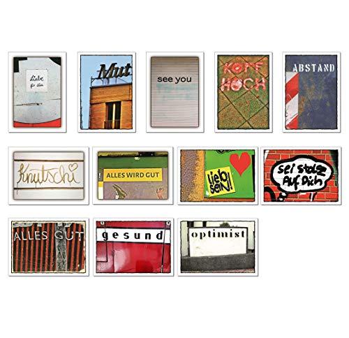 tom bäcker Aufmunterung Karten Set/Geschenkidee - Kopf hoch, Postkarten Mix/Paket, 12 Stück - Gesundheit - Abstand - Kraft - Mutmacher - Grusskarten - Liebe - Freundschaft - Stärke