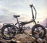 HPDOM Bicicleta Eléctrica Plegable de 500W 48V 10Ah, Batería Extraíble para Adultos, Bicicleta Eléctrica para la Nieve en la Playa, Velocidad Máxima de Viaje de 40 km/h