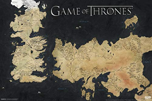 Pyramid America Game of Thrones Westeros Essos Map Stretched Canvas Wall Art 24x16 inch