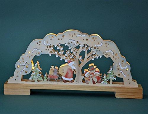 'LED–Portacandele arco luminoso 'Babbo Natale Natura/colorato, Decorazione in legno ca. 45cm larghezza natalizia (20658)