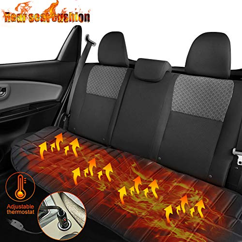 Qweidown Car Heated Cushion,12v Car Seat Heating Pad,Car Front Heated Seat Pad,Universal Heated Cushion Car Heated Seat Heating Pad with Intelligent Temperature Controller and Timing (Rear seat)
