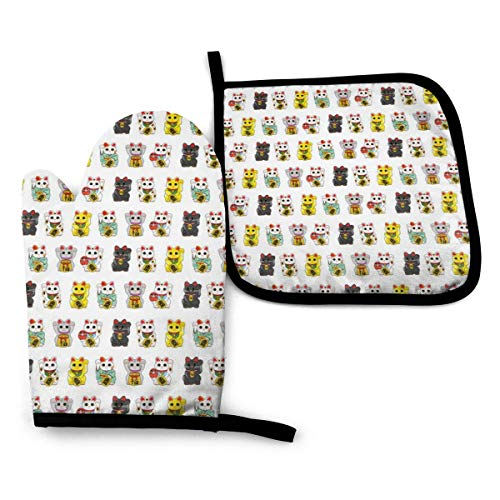Ameiu-Design Oven Mitts and Pot Holders,Lucky Cat Advanced Heat Resistant Oven Mitts,Non-Slip Textured Grip Potholders for Cooking Grilling Baking