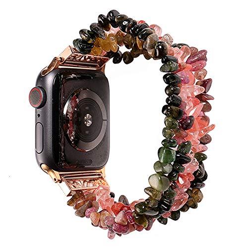 LLMXFC Pulsera de Reloj de Apple for Las Bandas de 42 mm 44 mm Mujeres Natural Hecho a Mano de la Correa de Piedra reemplazo for la Serie de IWatch 5 4 3 2 1 40 mm 38 mm