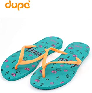 Dupe Green/Green Flip Flop Thong Design Slipper for Women