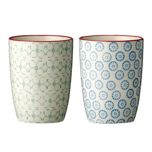 Bloomingville Becher Emma, grün blau, Keramik, 2er Set