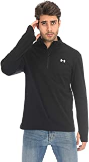 ARCHAEUS Men's Body fit Half-Zip Pocketed Collared Long Sleeved Running Shirt Track Jacket with Thumb Holes S-XXL