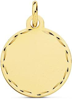 Colgante Chapa Redonda Oro 18 Kilates 14 mm Mate Tallado - Joya personalizada, grabado