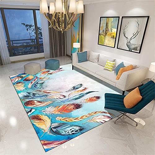 RUGMYW Alfombra Salon Coloridas Plumas Azul Verde Naranja Amarillo alfombras de Juegos...