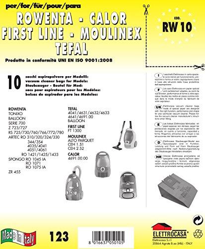 RW 10 sacchetti per aspirapolvere confezione da 10 sacchi carta