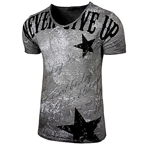Herren Rundhals Vintage T-Shirt Kurzarm Slim Fit Design Fashion Top Print Shirt B-300, Farbe:Anthrazit, Größe:2XL