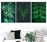 Arte de la pared de la lona Planta verde Hoja de palma Pintura de la lona Arte de la planta Carteles e impresiones nórdicospara la decoración de la sala de estar 3 piezas 40x60cm sin marco