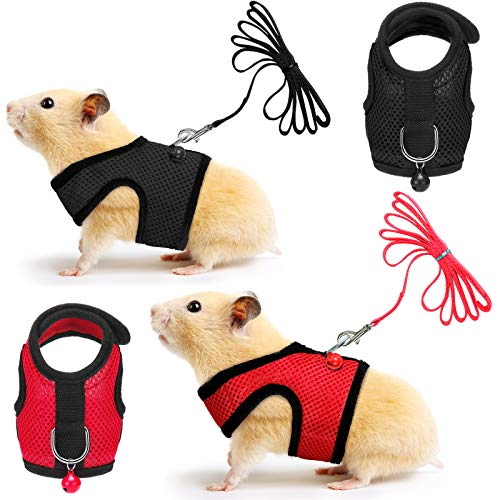 SATINIOR 2 Pieces Guinea Pig Harness and Leash Ferret Rats Hamster Soft Mesh Harness Leash Vest Set with Bell for Small Pet Rabbit Iguana Squirrel Chinchilla (Black, Red,S)